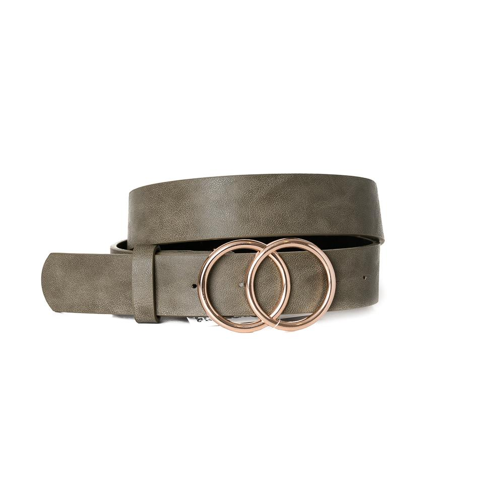 Belt, Doubble Ring Buckle Army Green Gold Buckle