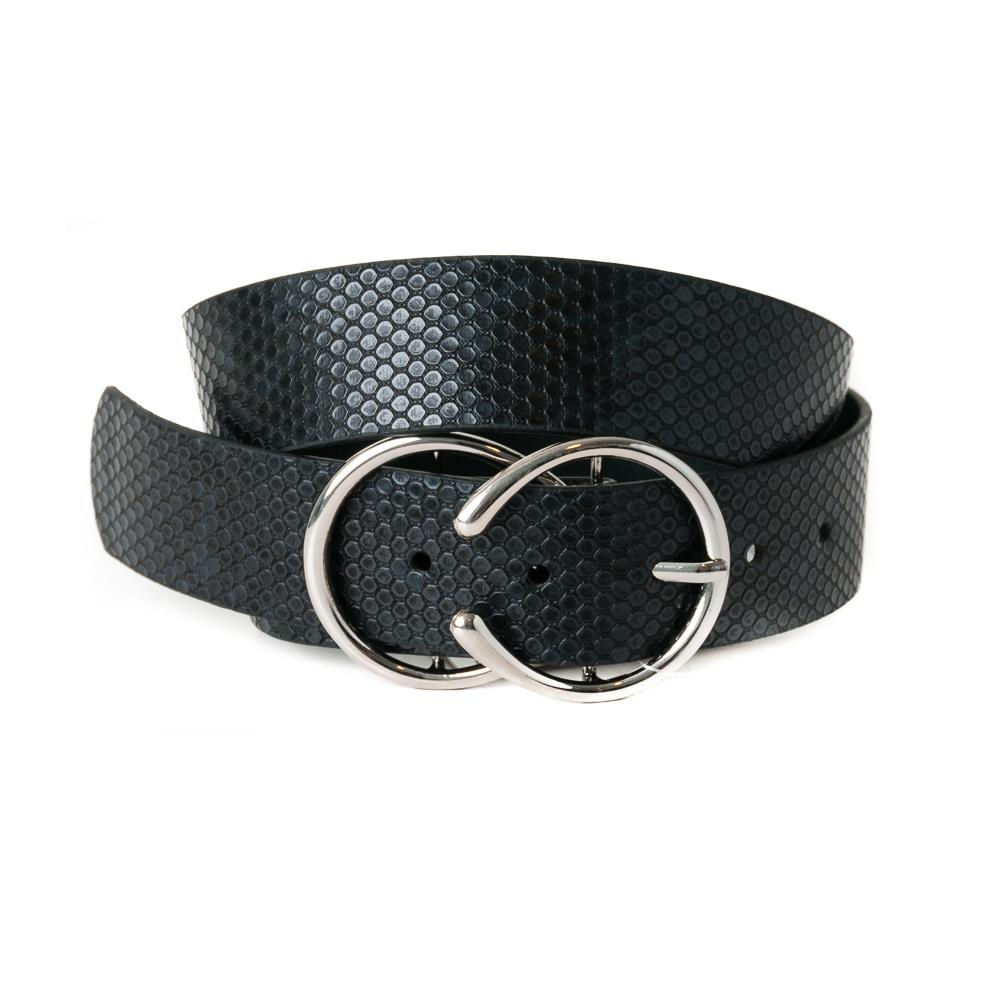 Belt, pu/leather snake double ring buckle black/black
