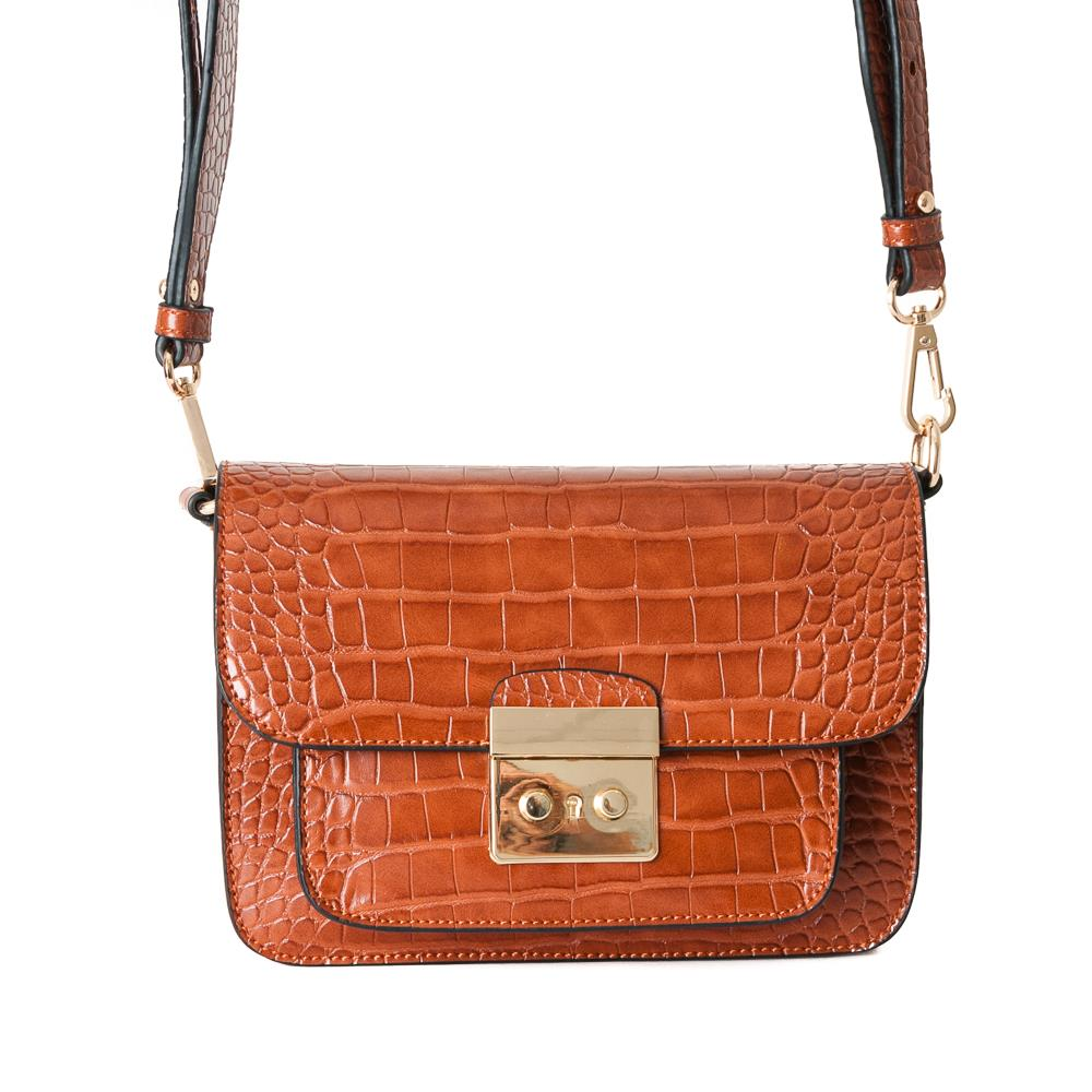 Bag, croco clutch cognac