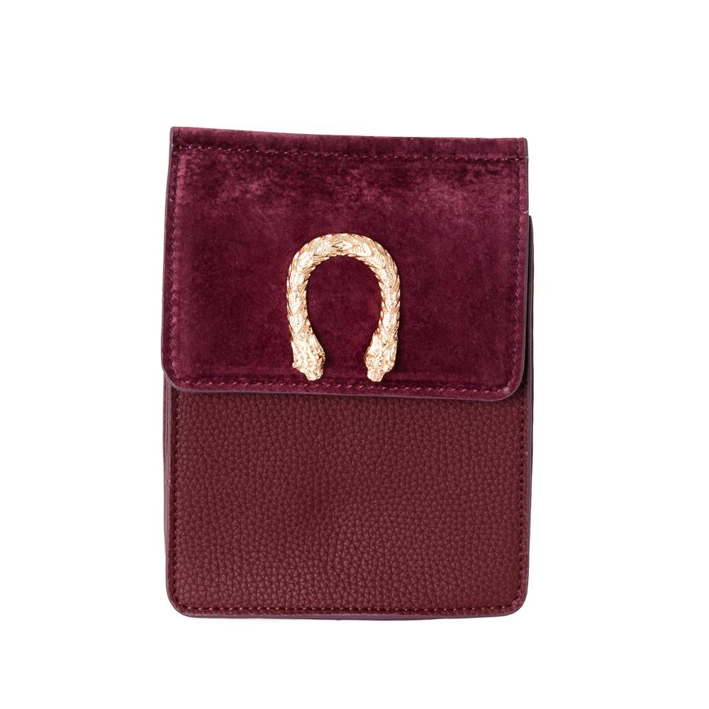 Bag, small snake buckle clutch bordeaux