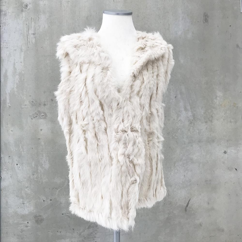 Scarf, fur west with collar White