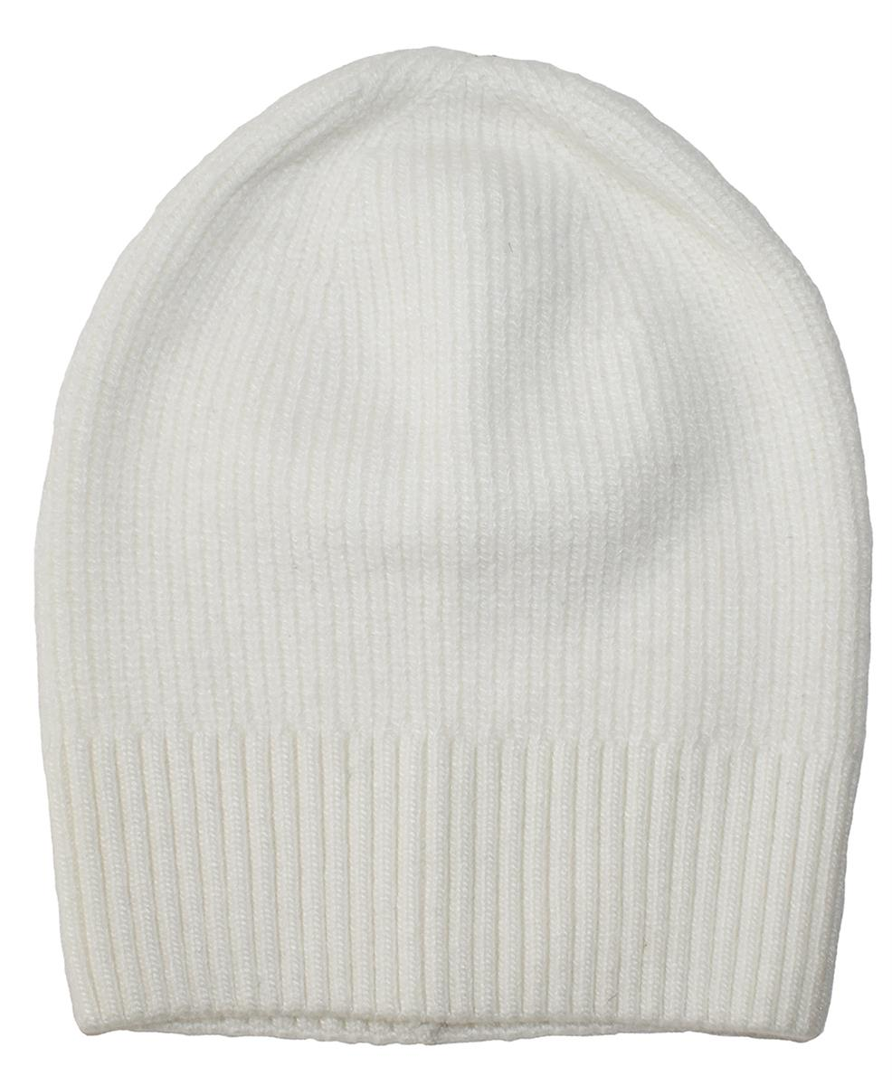 Hat, knitted wool plain white