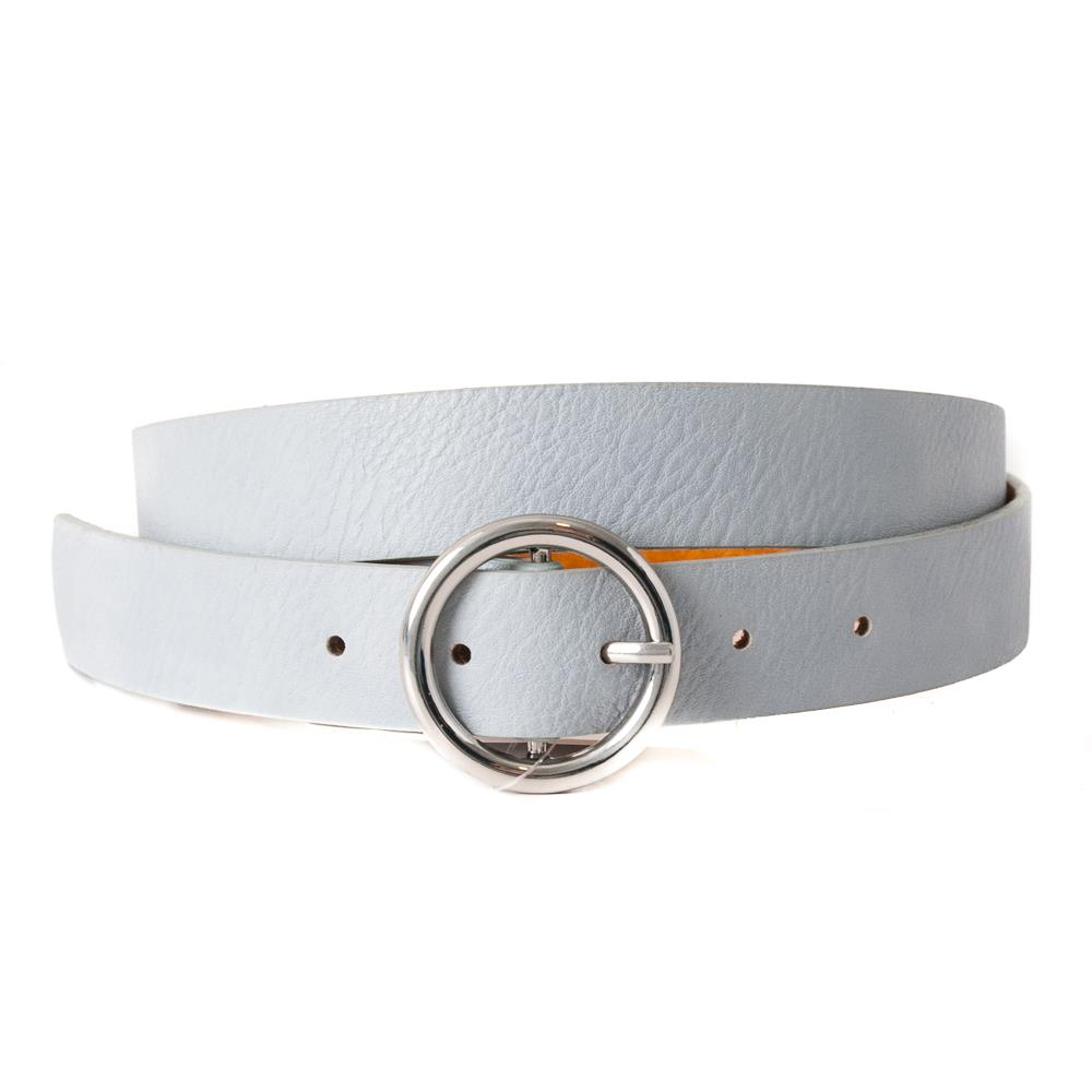 Belt, with sirkle buckle plain, silver buckle lt blue