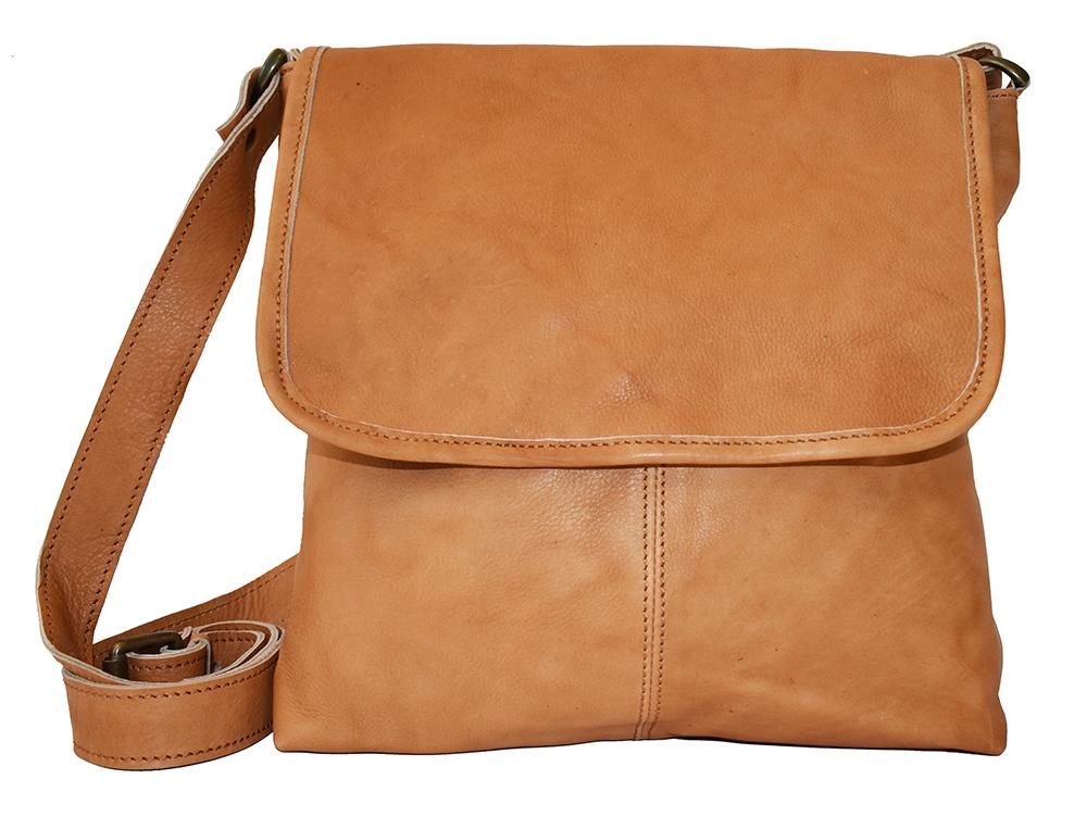 Bag, leather with flip cognac