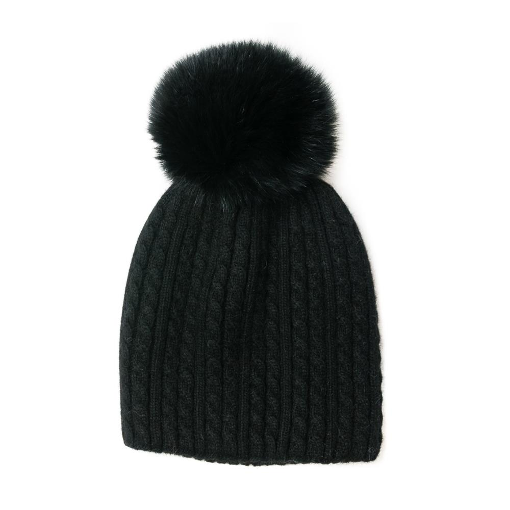 Hat, knitted kabel, knitted lining black