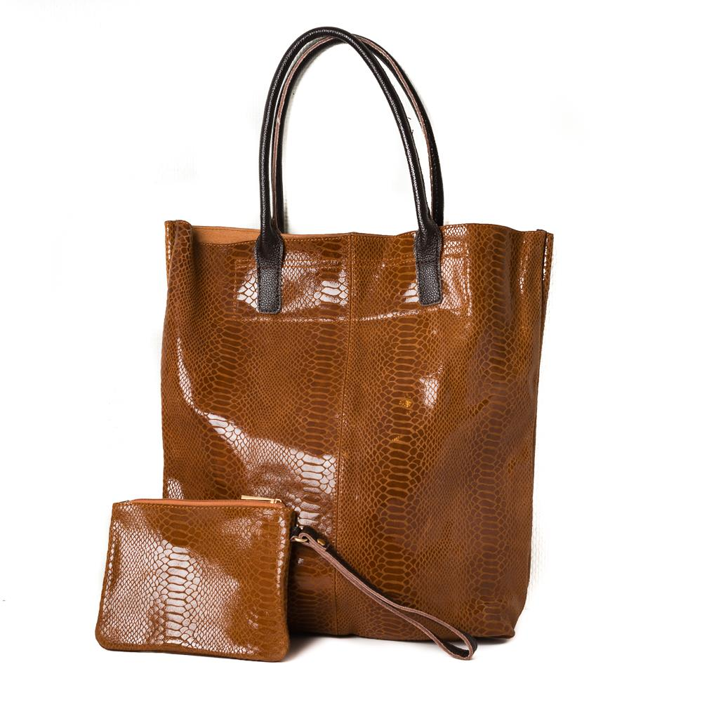 Bag, leather shopper with mini purse brown