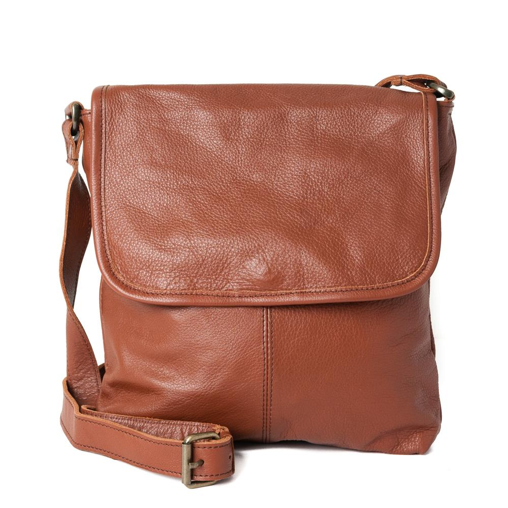 Bag, leather with flip NDMI dk brown