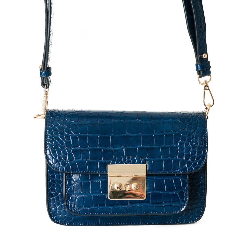 Bag, croco clutch navy