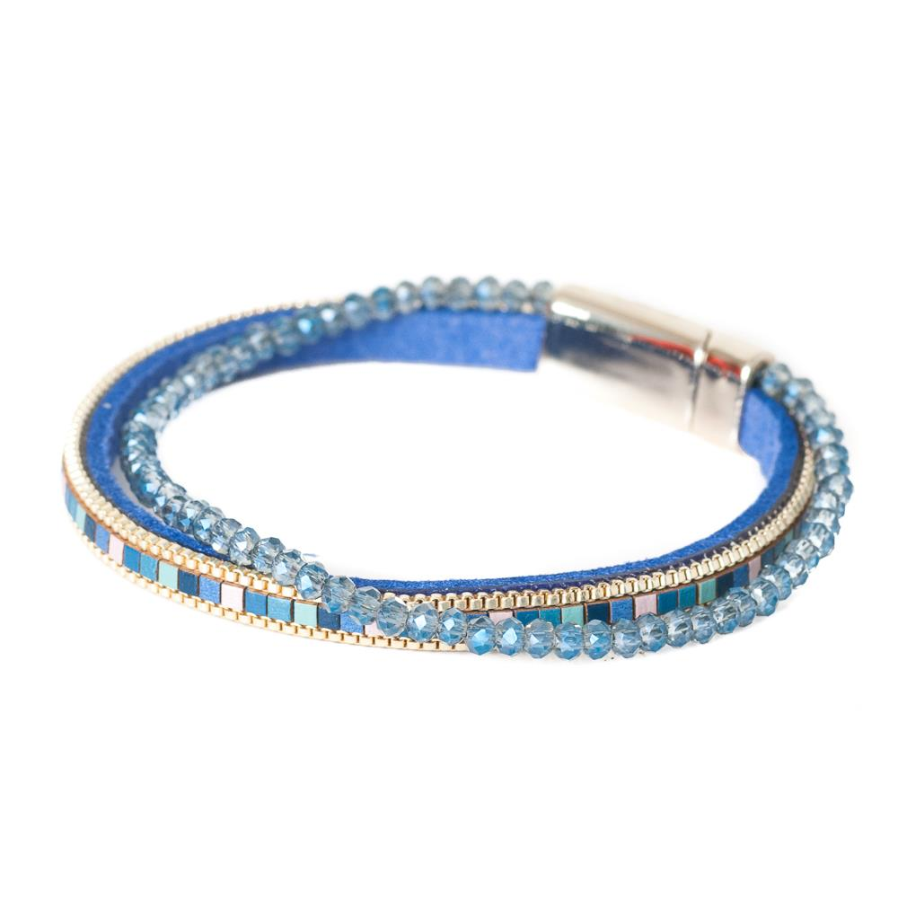 Bracelet, double with crystal blue