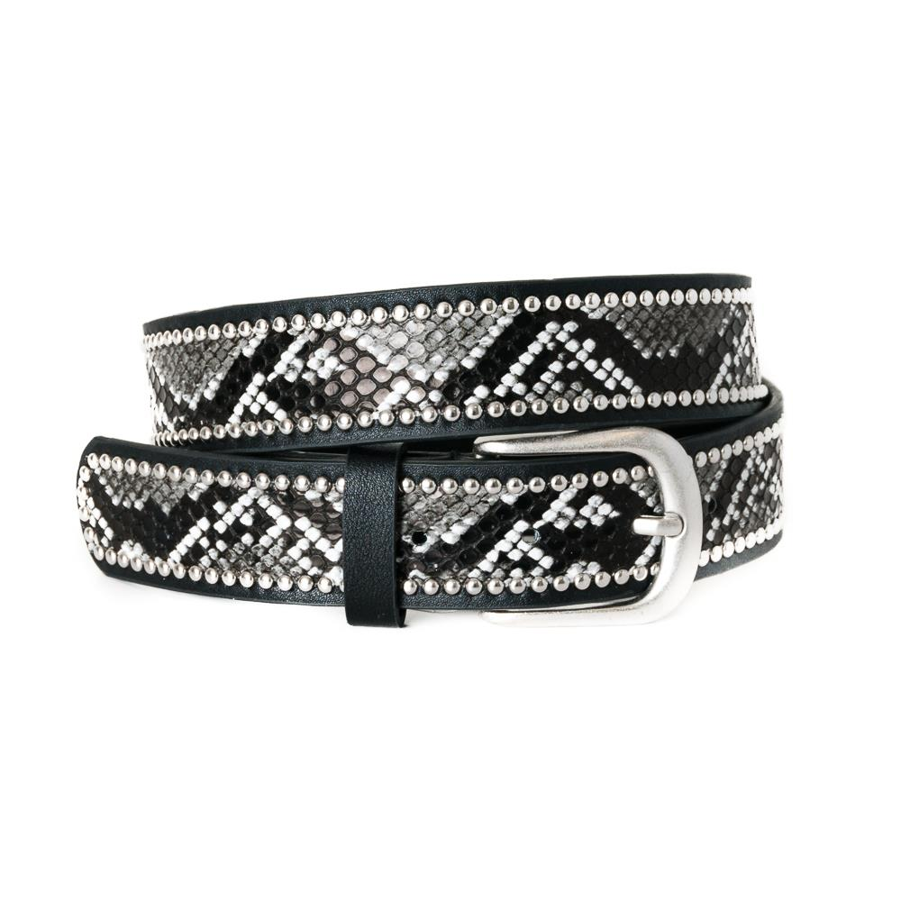 Belt, Snake pattern with rivets black