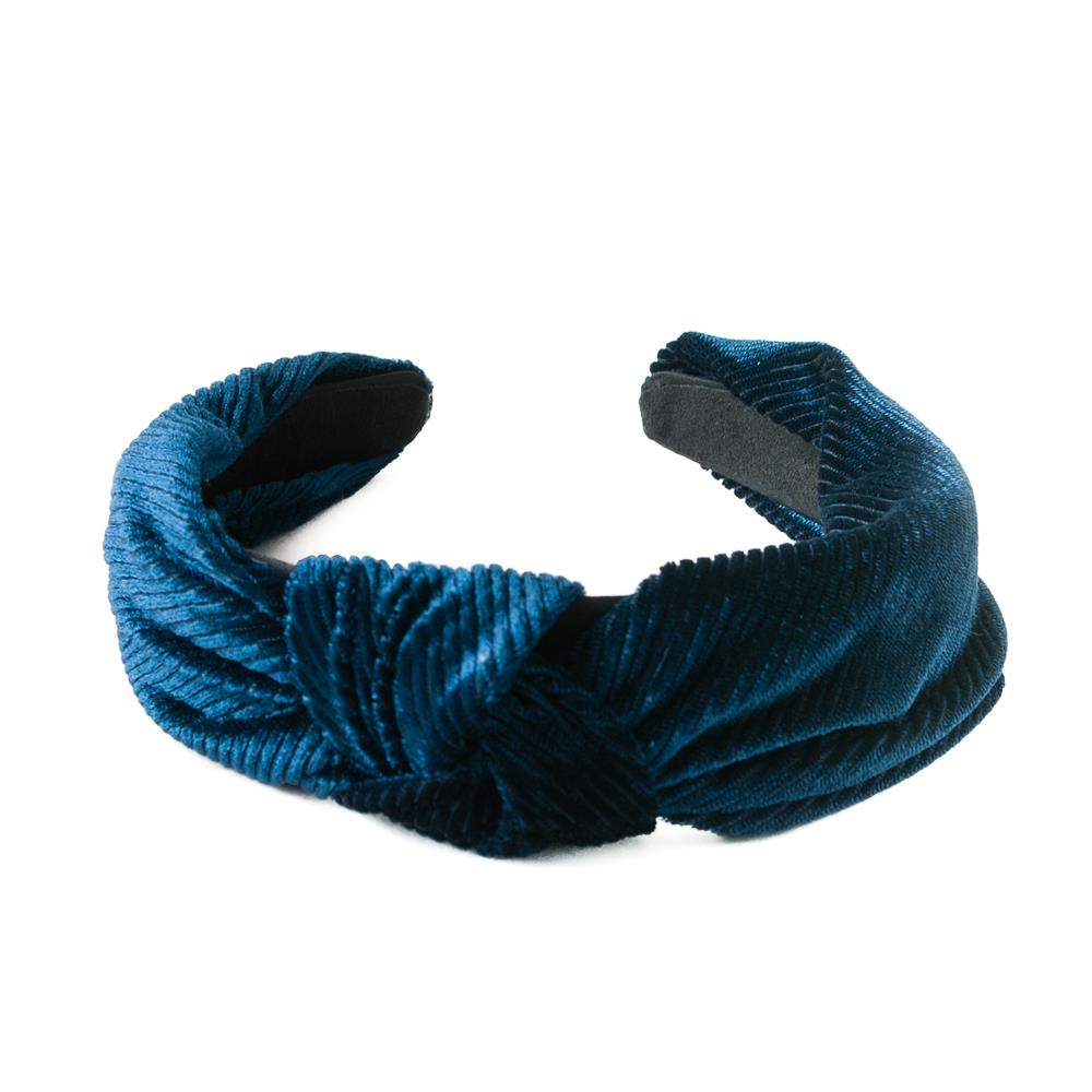Headband, Cross Velvet Headband Navy