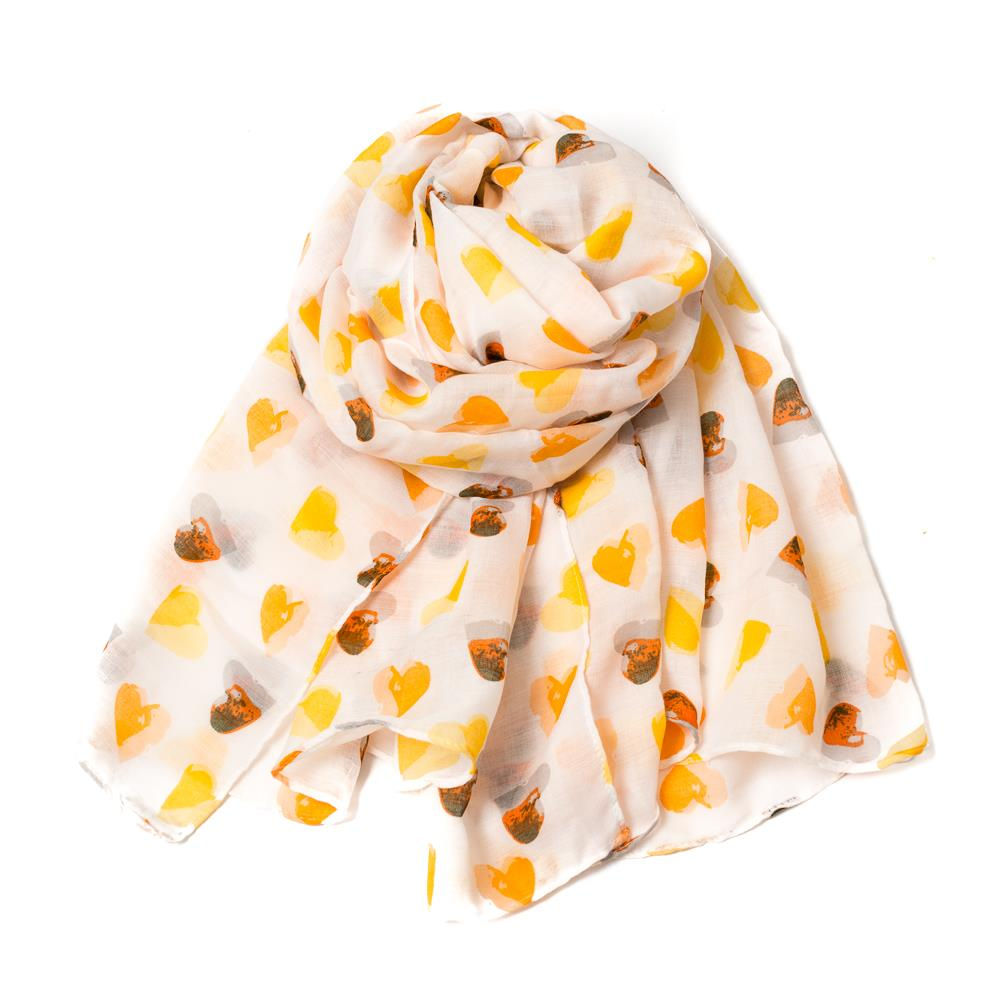 Scarf, heart print yellow