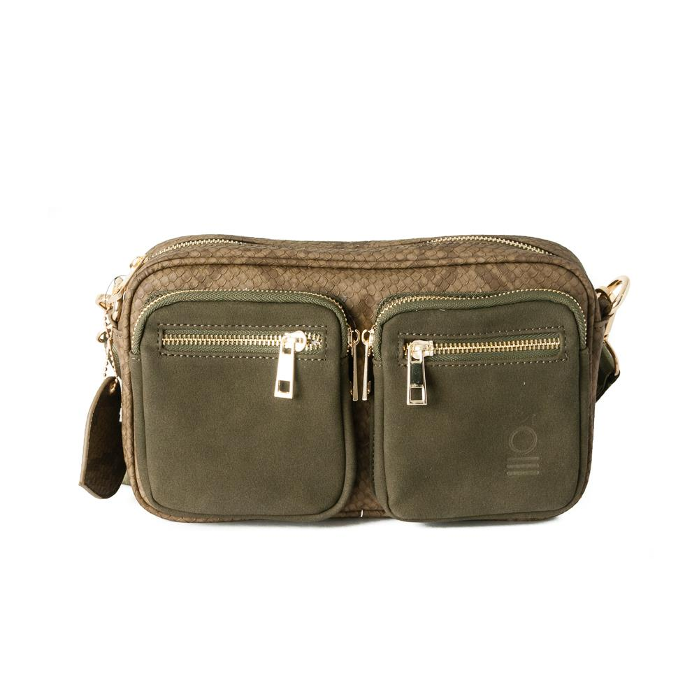 Bag, small snake zipper cross army green