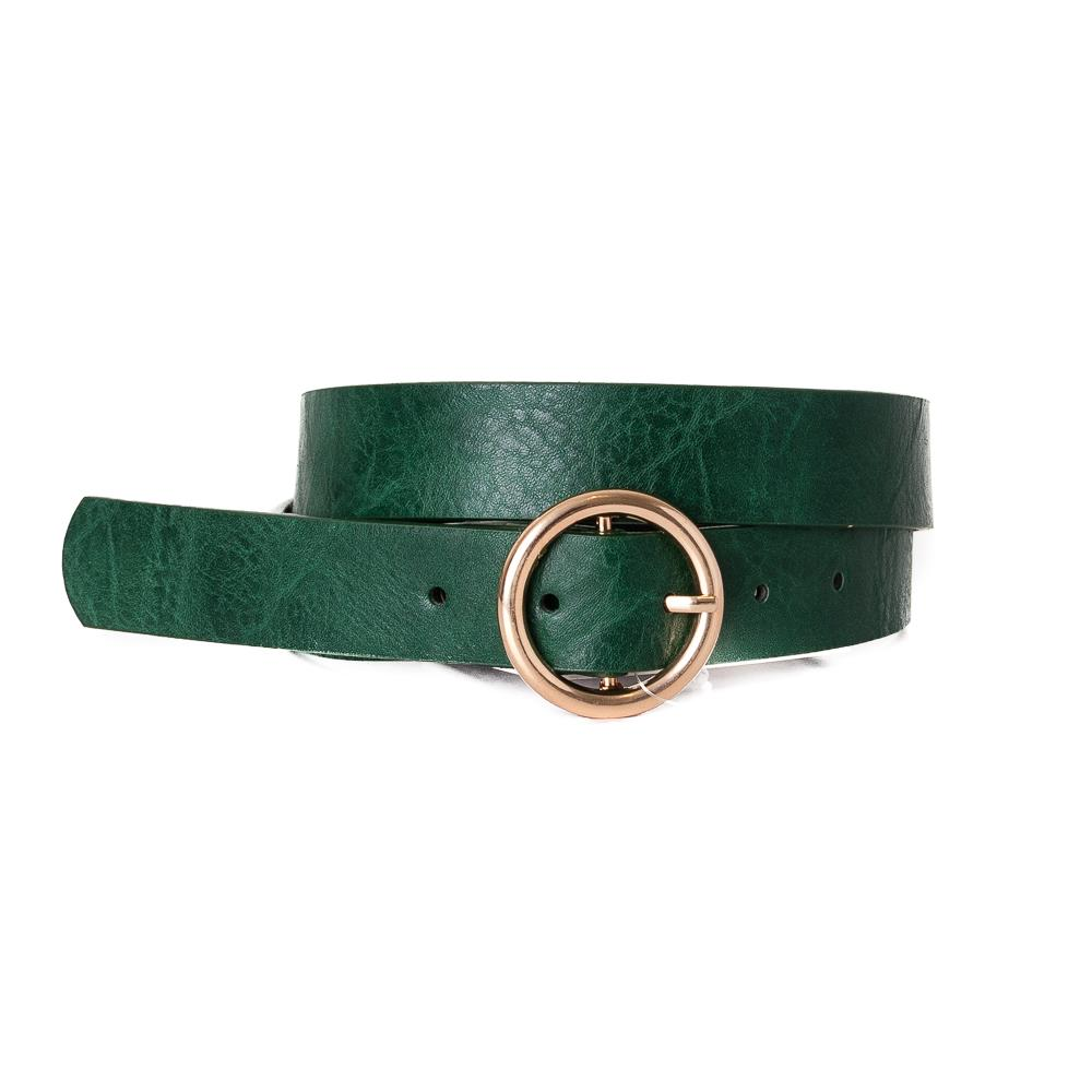 Belt, with sirkle buckle Army Green Gold Buckle