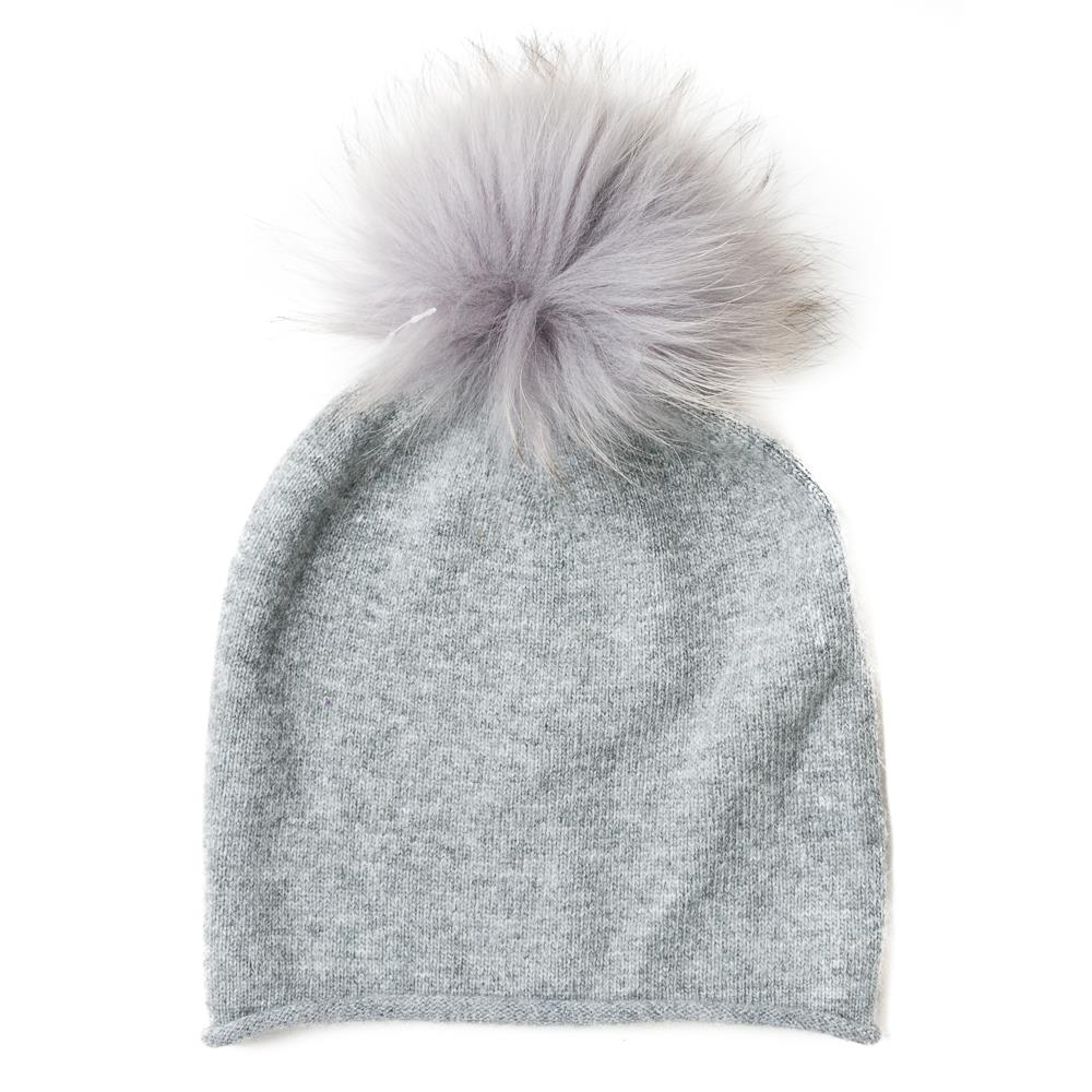 Hat, knitted w fur pompom solid color grey