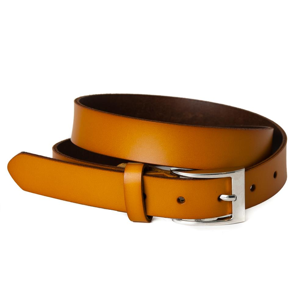 Belt, leather square buckle yellow
