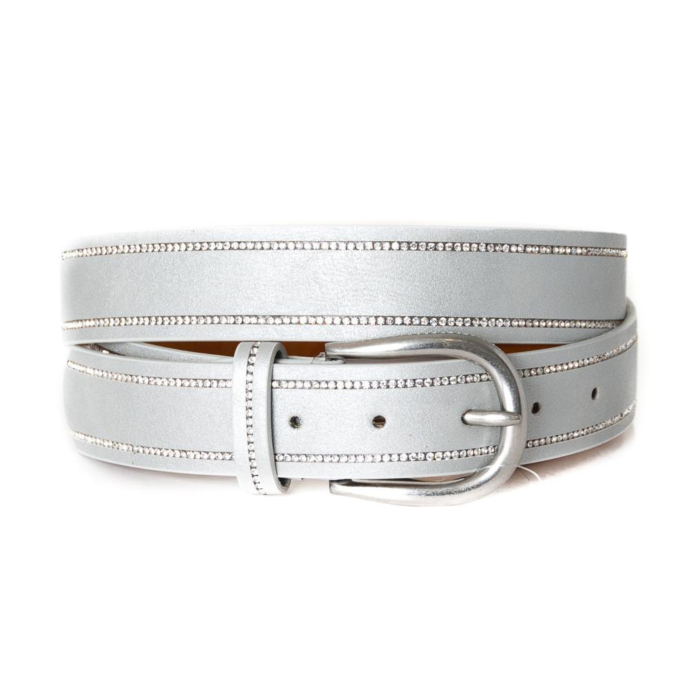 EXTRA LENGTH Belt, strass stone covered edge Lt.Taupe