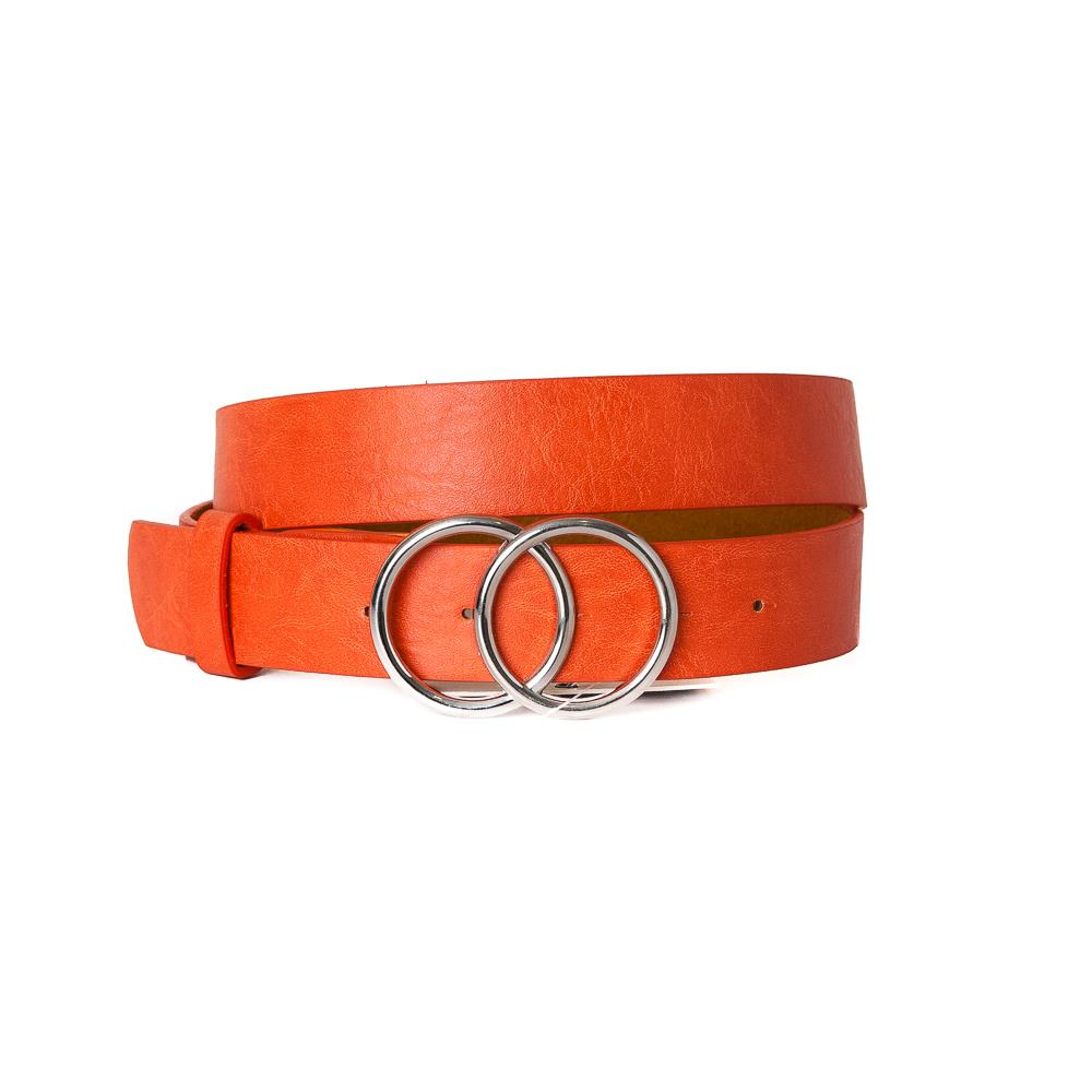 Belt, Doubble Ring Buckle Orange Silver Buckle