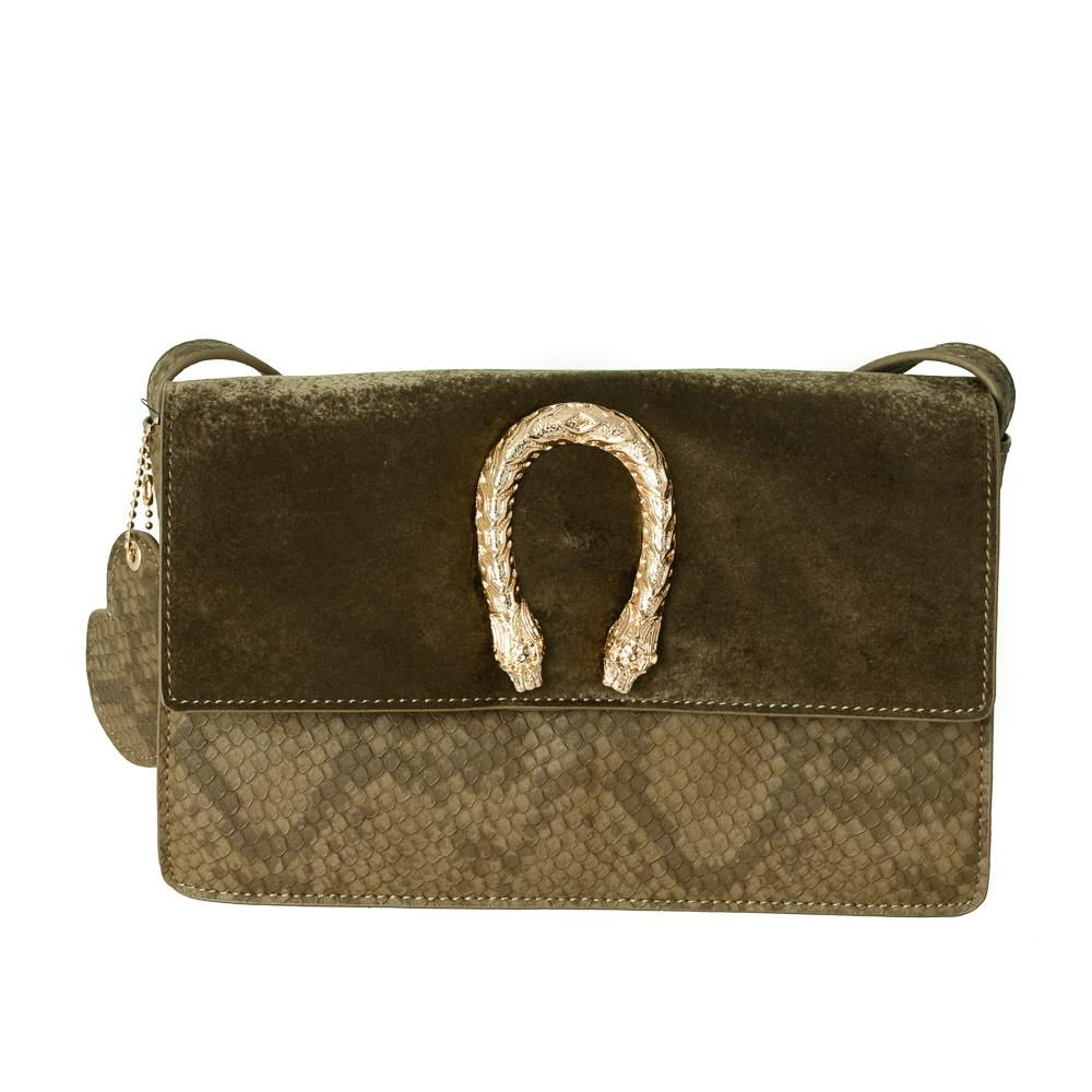 Bag, snake buckle clutch army green