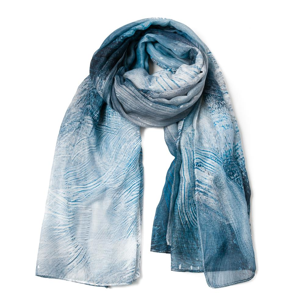Scarf, feather pattern blue