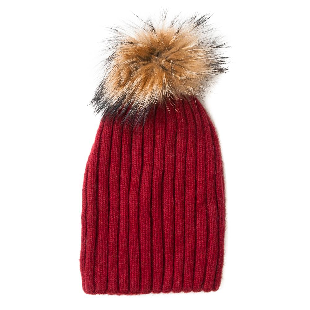 Hat,kabel knitted w fur pompom burg