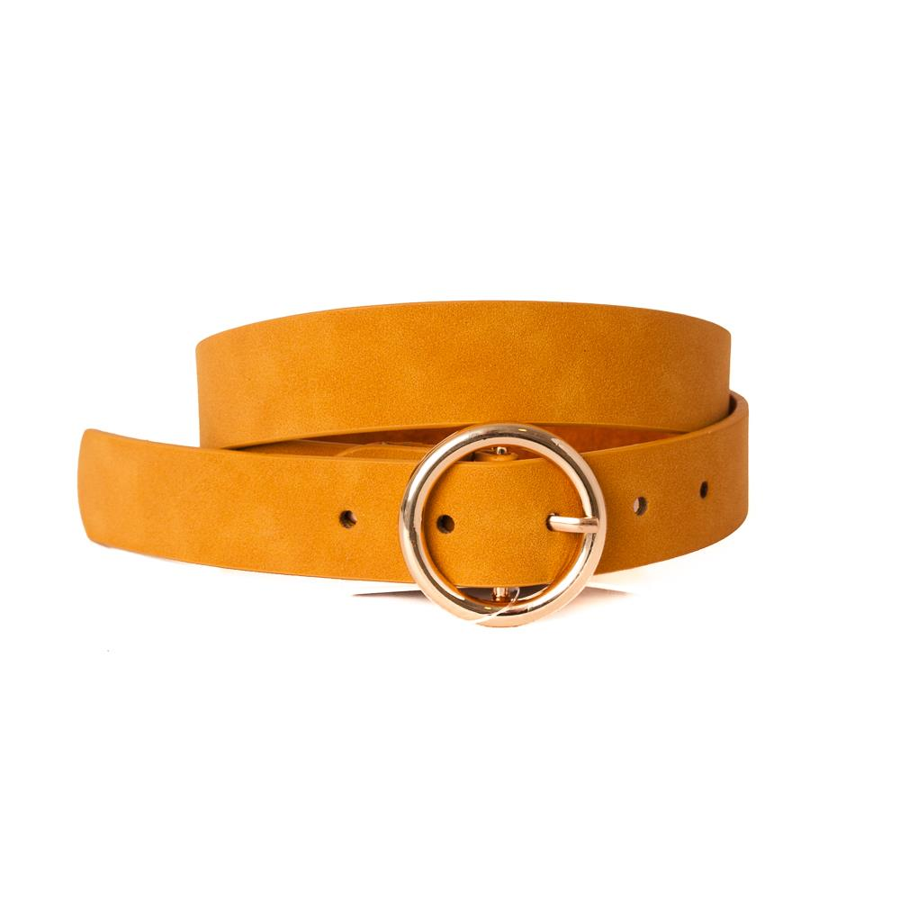 Belt, pu/leather sirkle buckle dk yellow