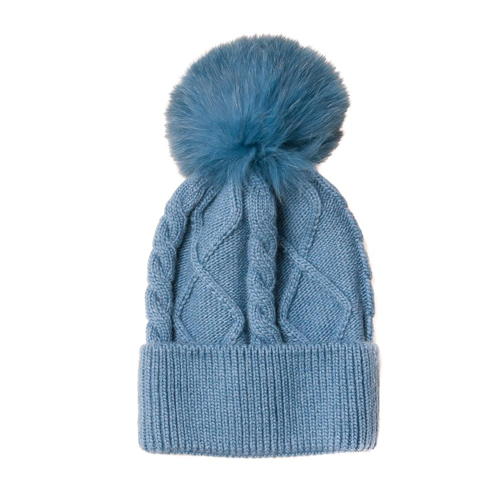 Hat, knitted kabel, pull up edge blue