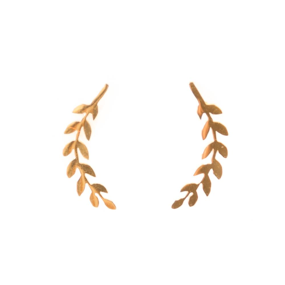 Earrings, Stainless steel leaf 14 gold carat