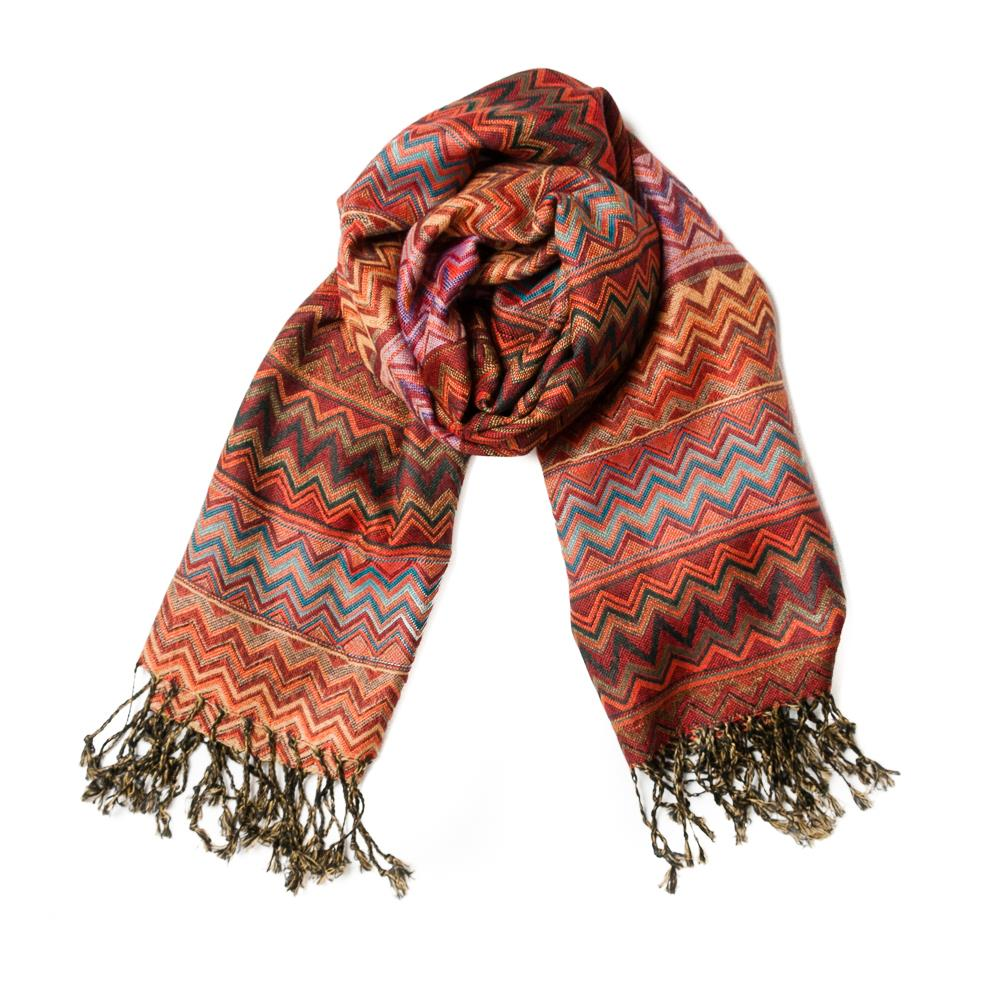 Scarf, zikk zakk patter red