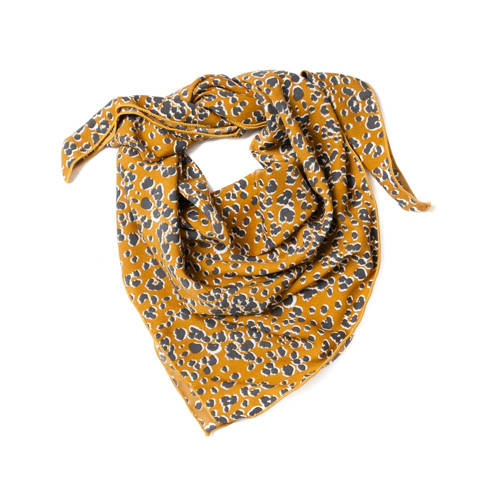 Scarf, small animal pattern yellow