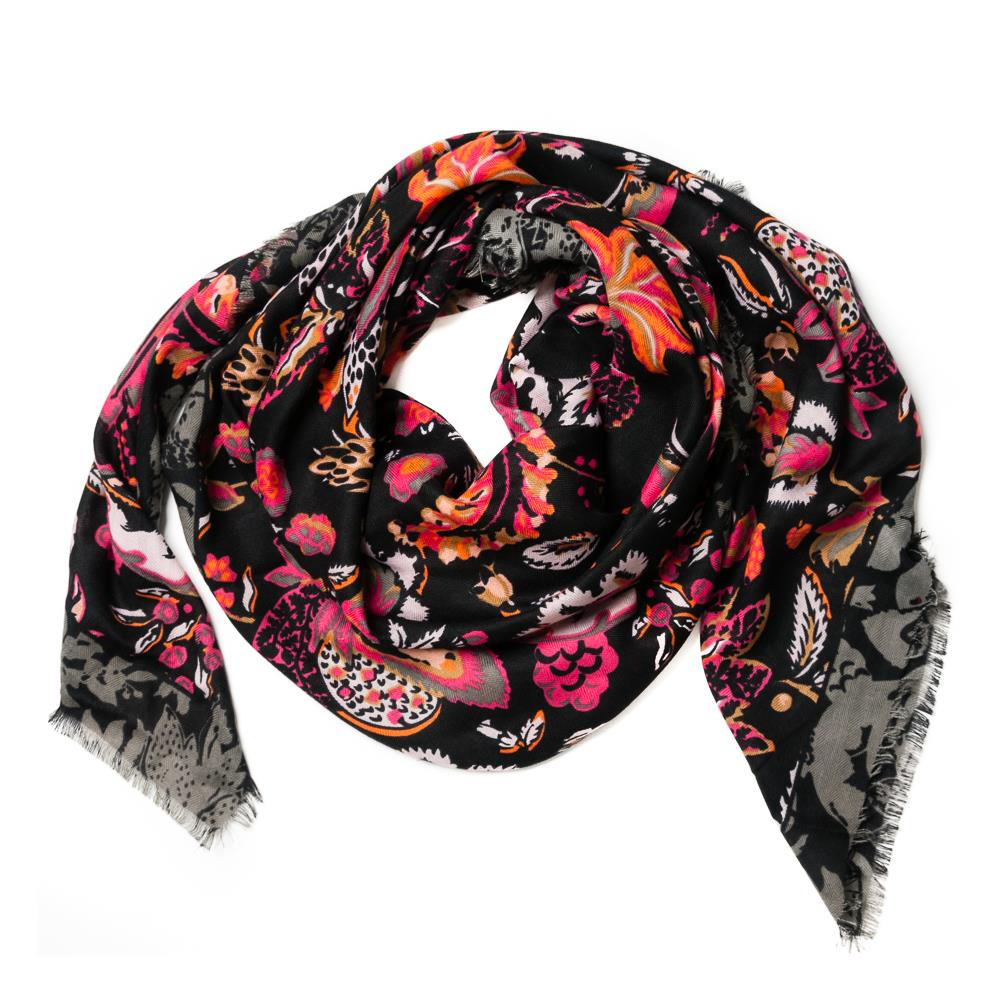 Scarf, autum flower square black