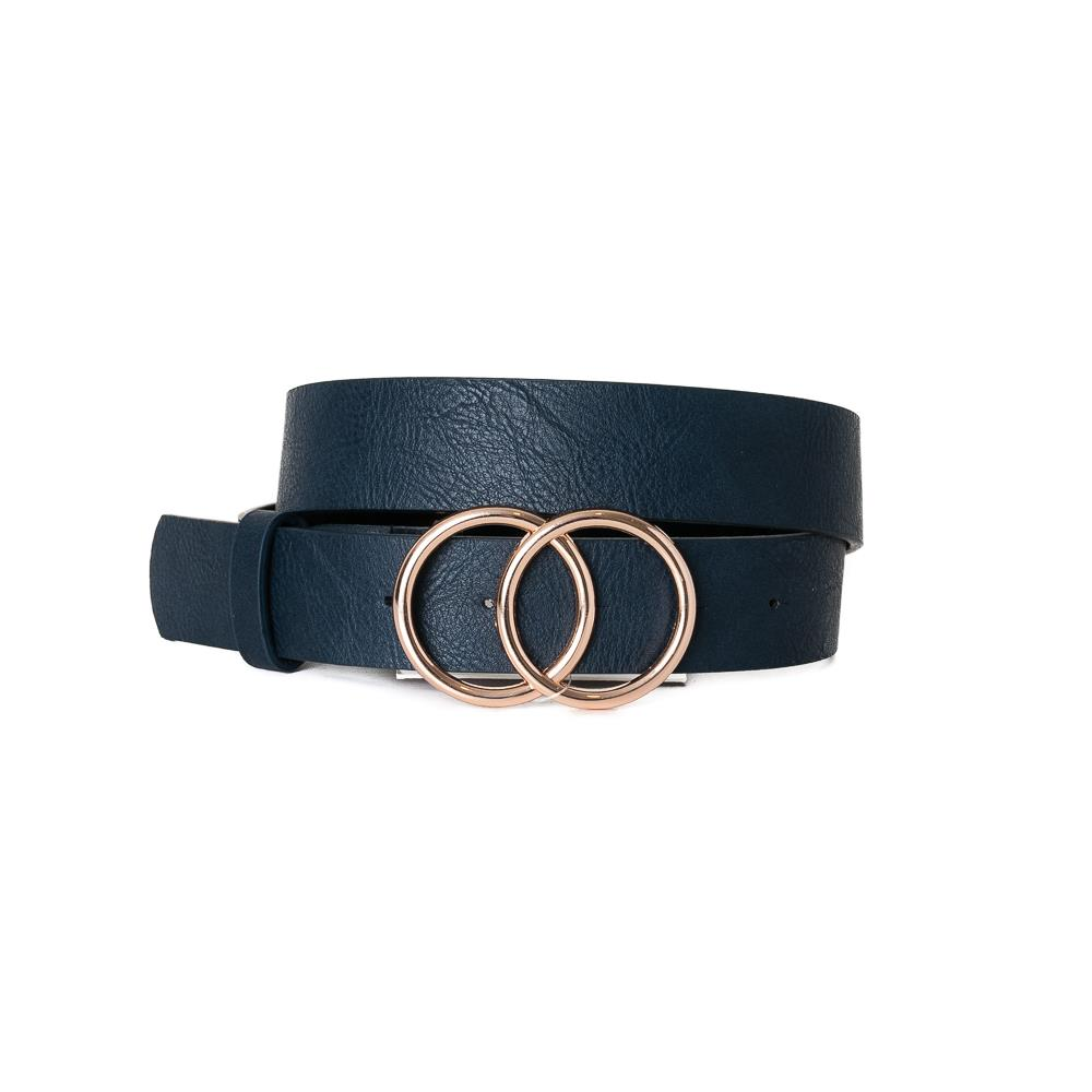 Belt, Doubble Ring Buckle Navy Gold Buckle