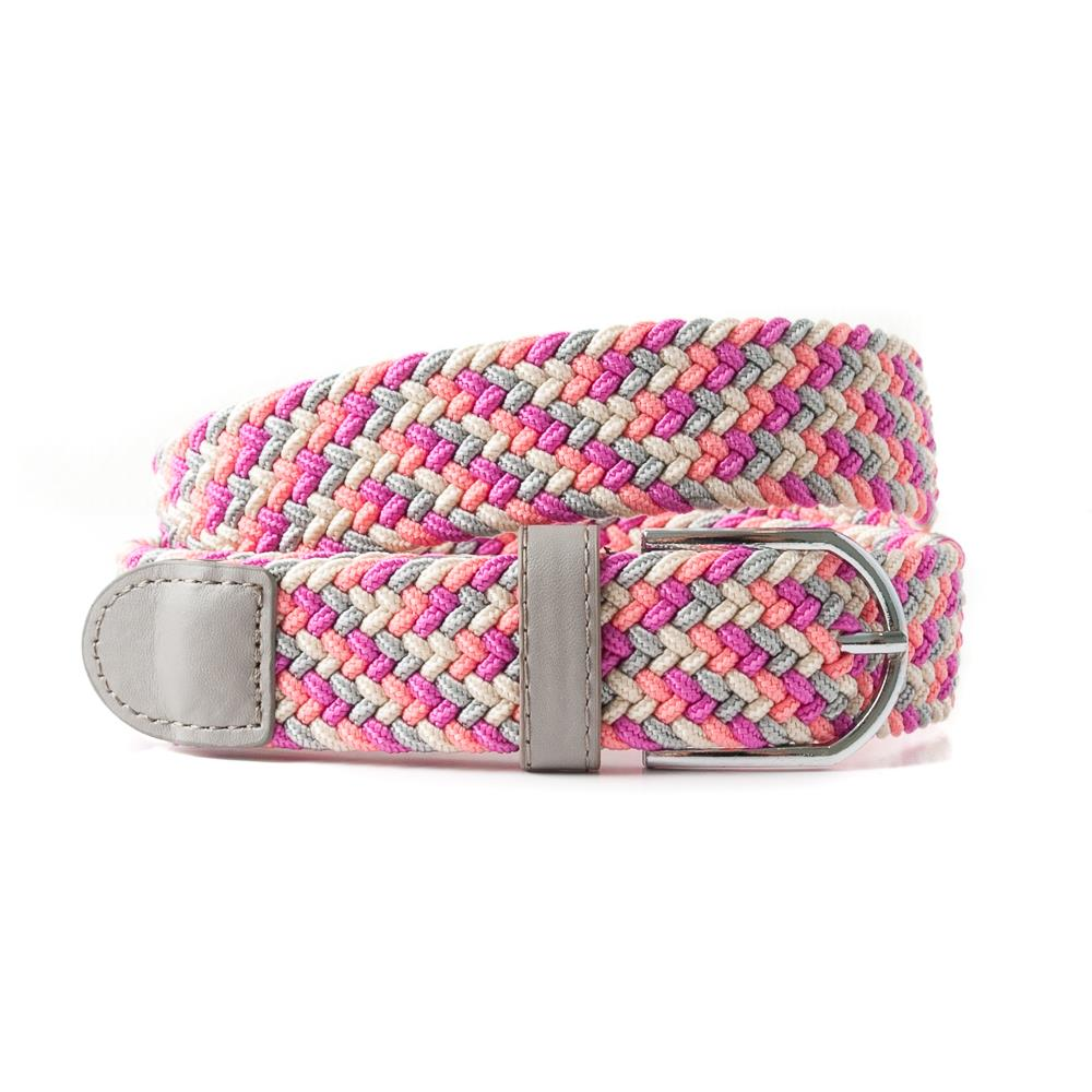 Belt, elastic braided multicolored pink