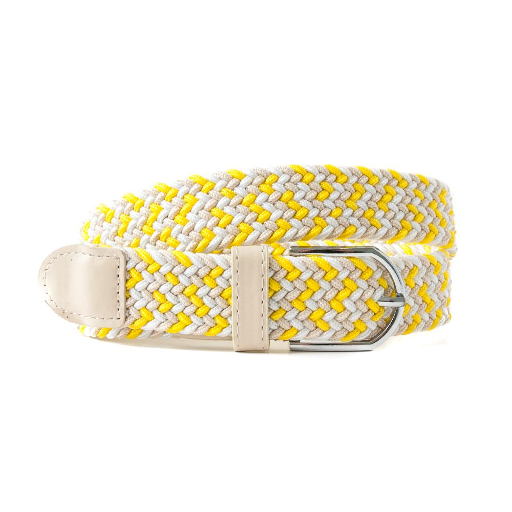 Belt, elastic braided multicolored yellow