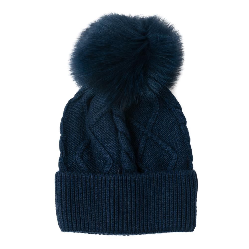 Hat, knitted kabel, pull up edge navy