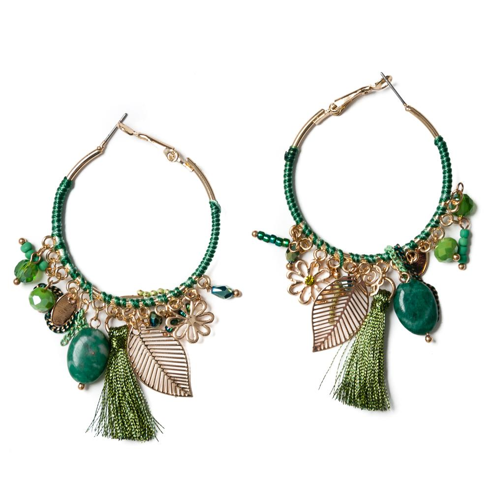 Earrings, feather green