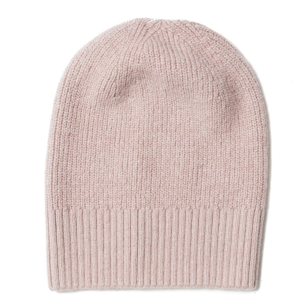 Hat, knitted wool plain dusty pink