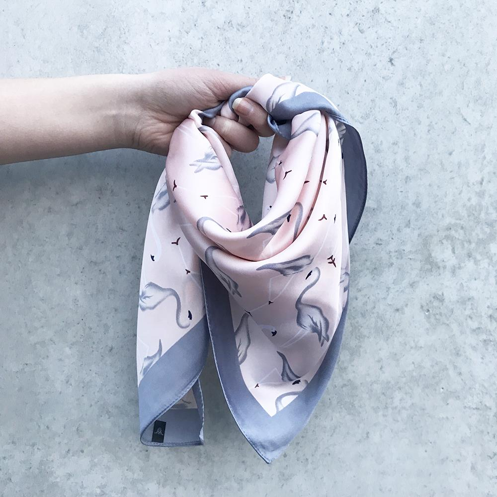 Scarf, Small silk look pelican print