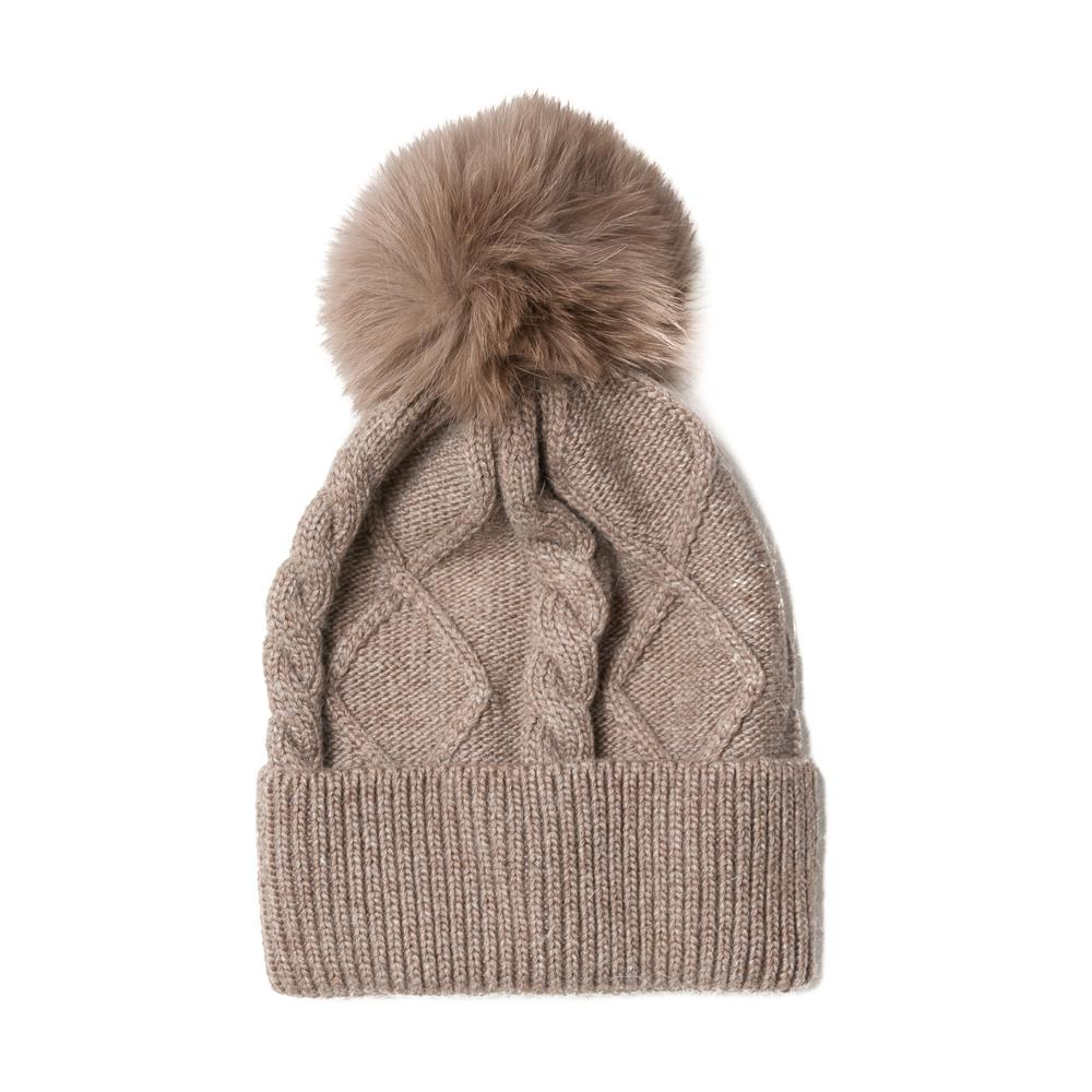 Hat, knitted kabel, pull up edge beige