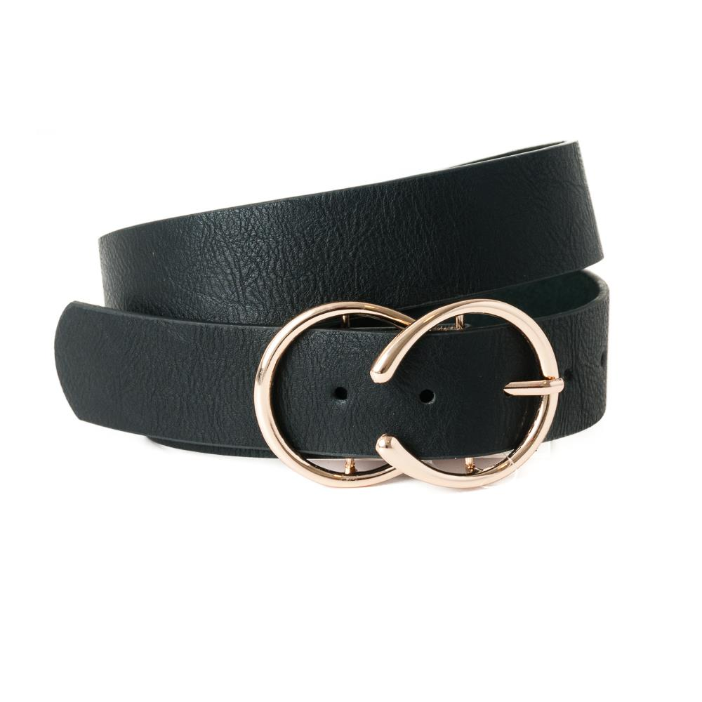 Belt, pu/leather snake double ring buckle black