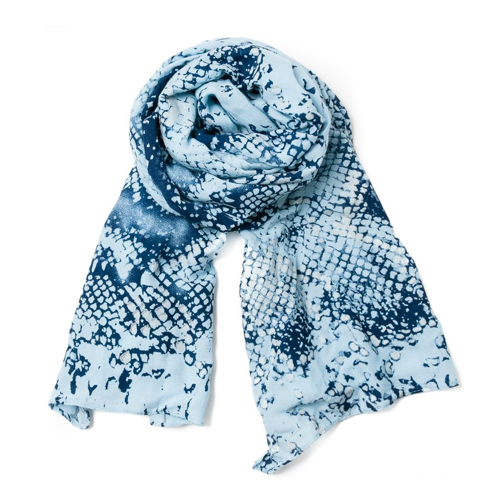 Scarf, Animalprint with foil lt.blue