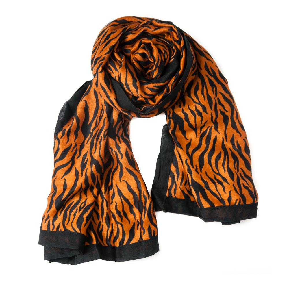 Scarf, zebra pattern with colorfull edges mustard
