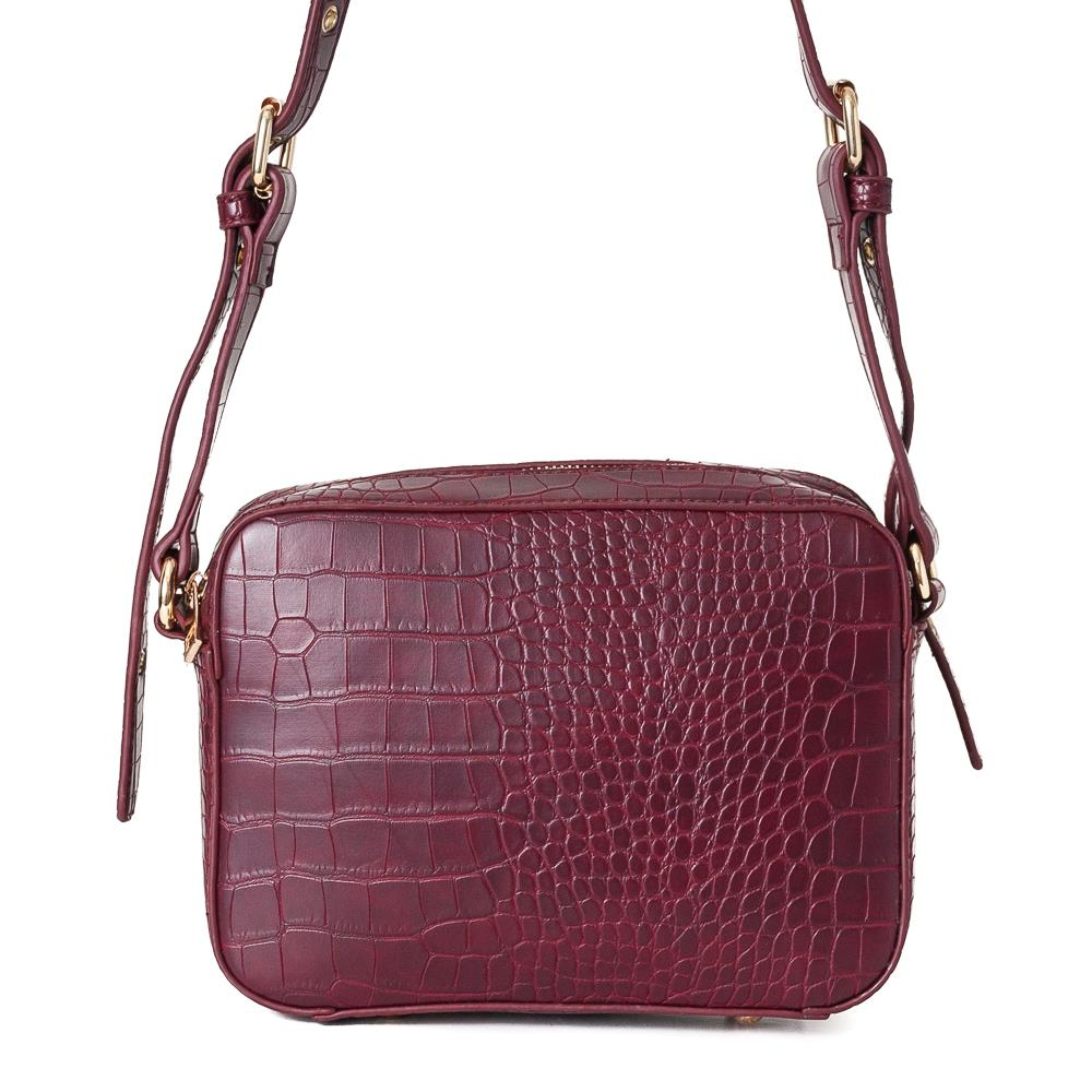 Bag, croco rivets handbag bordeaux