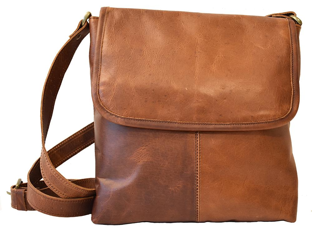 Bag, leather with flip dark brown