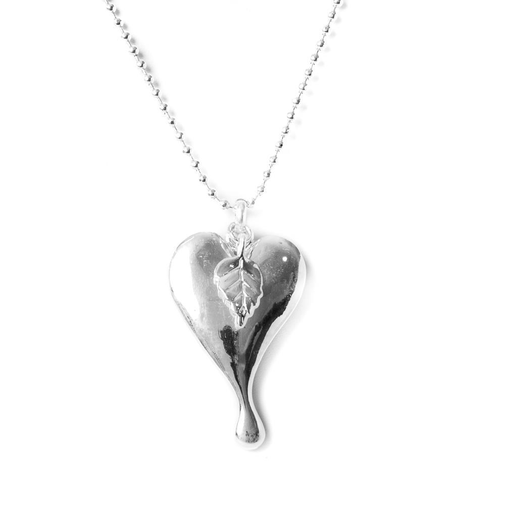Necklace, heart with feather silver