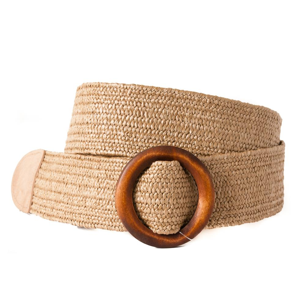 Belt, wide elastic wood buckle brown