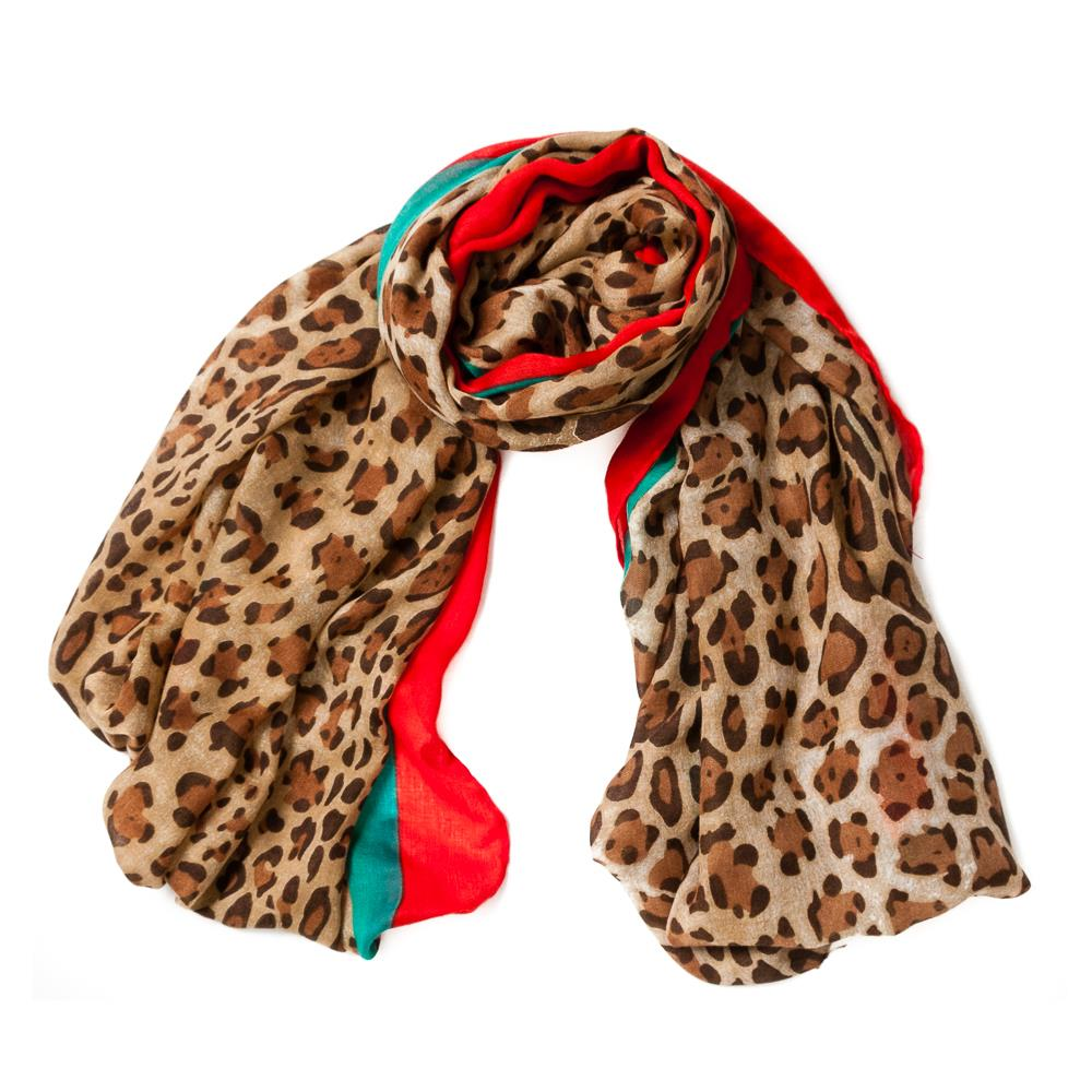 Scarf, colored leopard print brown