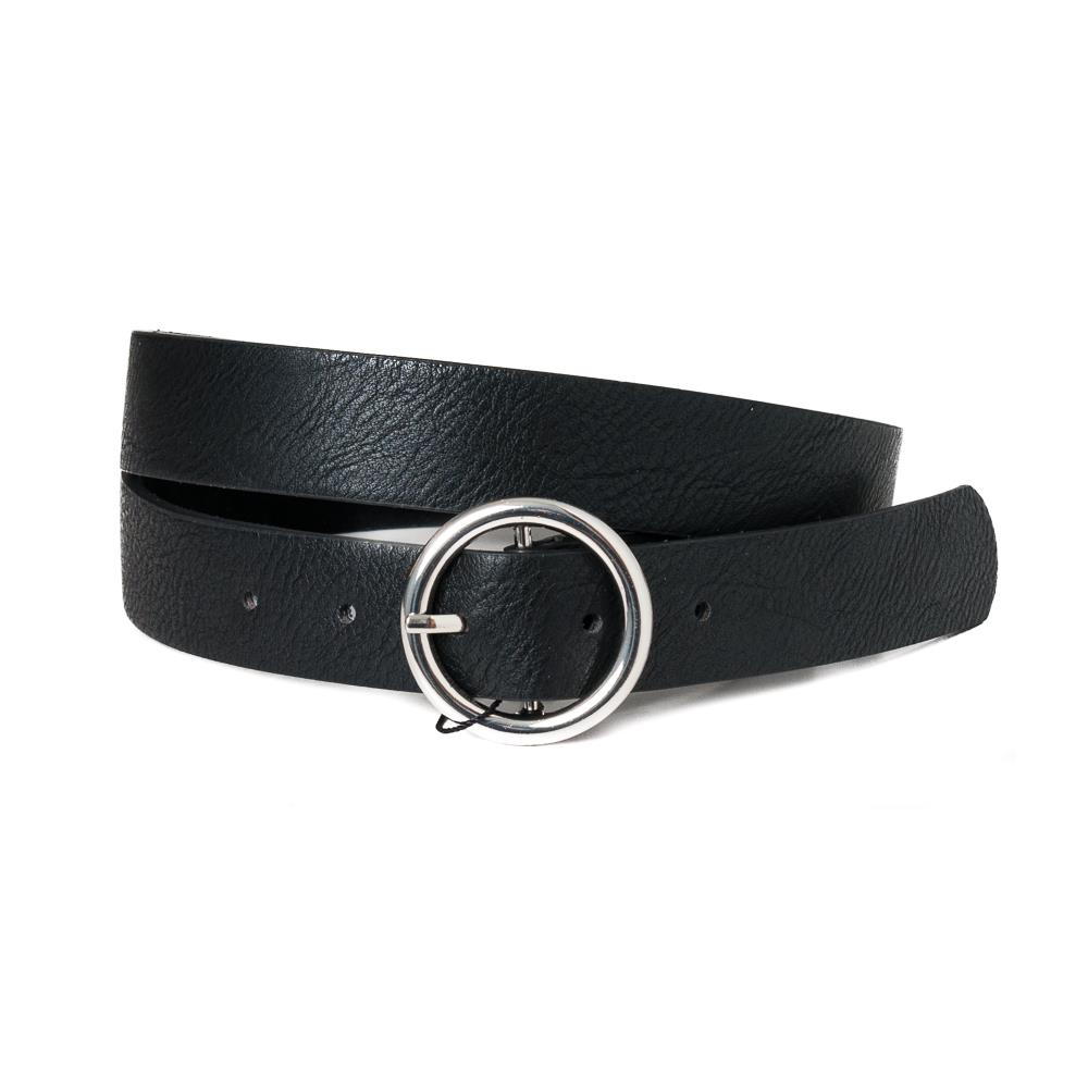 Belt, with sirkle buckle black, silver buckle black