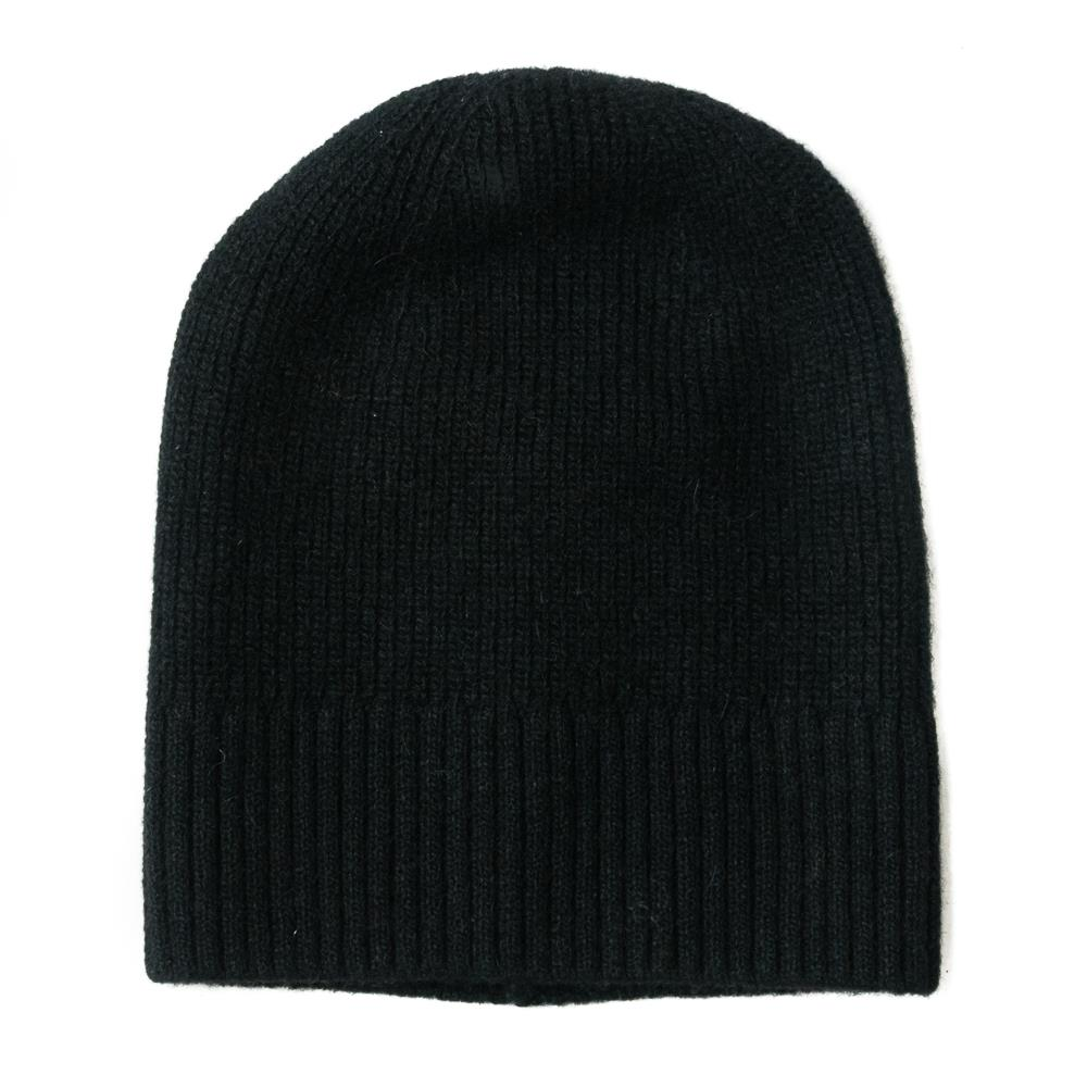 Hat, knitted wool plain black