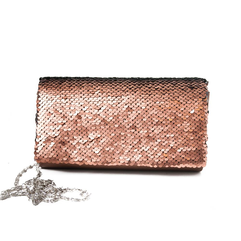Bag, Partybag big sequinces copper